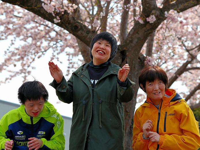 青年寮通所部 桜の木の下