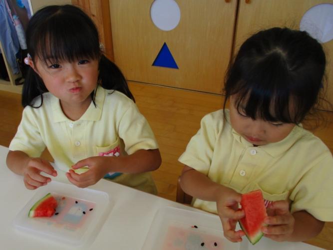 ゆうあい幼稚園 「園で育てたスイカを食べる」